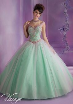 89006 Quinceanera Gowns 89006 Layered Tulle Quinceanera Gown with Embroidery and Beading