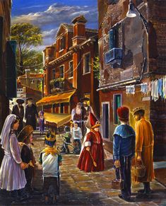 Jewish Life, Purim Painting by an Israeli artist Alex Levin Canvas Artwork, Cool Artwork, Arte Judaica, Temple In Jerusalem, Encaustic Art, Jewish Art, Inspirational Wall Art, Original Artwork, Posters