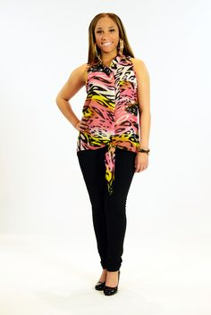 Be Fierce. Animal print tie front tops with leggings are now at Citi Trends #cititrends