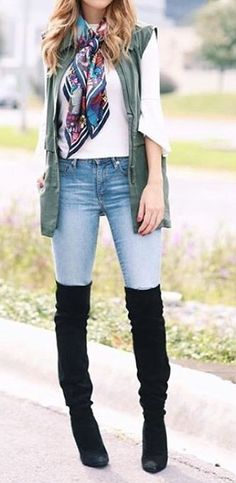 #cute #outfits Army Gilet // White Blouse // Skinny Jeans // Black Knee High Boots