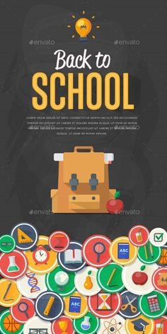 Back To School Banner With Flat Vector Icons