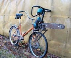 Taking the classic paper route to a whole new level, this innocent bicycle has been fitted with a chainsaw, amusingly attached so if the wheels are turning, the chainsaw is spinning.