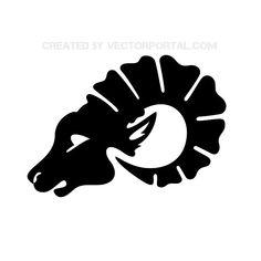 Aries Head Clip Art Free Vector