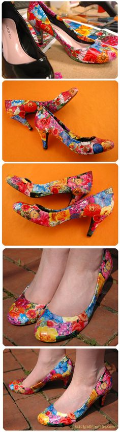 decoupaged shoes - I'm all over this!  I've seen this done with comic book images too. I'm pretty sure this could be turned into a whole business!