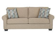 Khaki Nalini Sofa by Ashley Furniture, Polyester (100 %)