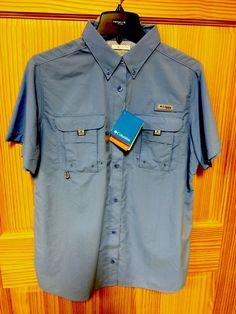 8b4481d0e7 NWT Women's Columbia Front Button Up Size L Blue PFG Omni Shade Fishing UPF  #Columbia
