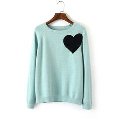 Mint Heart Knitted Sweater ($37) ❤ liked on Polyvore featuring tops, sweaters, blue, blue top, heart sweater, green knit sweater, blue green sweater and mint green top