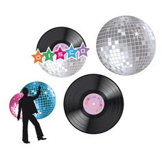 70S 80S DISCO NIGHT FEVER PARTYWARE VINYL RECORD PAPER BANNER HANGING DECORATION #AllOccasions