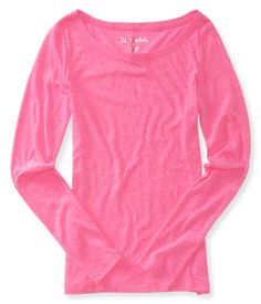 Long Sleeve Core Scoop-Neck Tee - Aeropostale (Pink Ribbon)