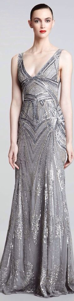 Monique Hillier Art Deco Design beaded gown