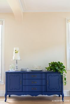 Painted dresser Blue night buffet - painted dresser  aubedesign.com
