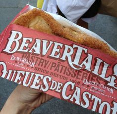 A Beaver Tail from Queues de Castor Beaver Tails, Canada Travel, Hot Dog Buns, New Recipes, Bread, Desserts, Drinks, Pastries, Venice