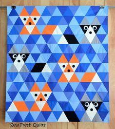 Manta patchwork moderno con zorros !