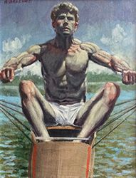 Mark Beard - Justin Rowing (Figurative Nautical Style Oil Painting of Athletic Male Figure) Nautical Painting, Boston Museums, Greek Statues, Nautical Fashion, Nautical Style, Art Of Man, Guy Drawing, First Art, Male Figure