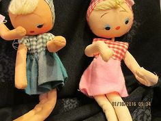 6-VINTAGE-1950s-MOD-WIDE-EYED-BENDABLE-DOLLS-7-TALL-CLOTH-FACE-JAPAN