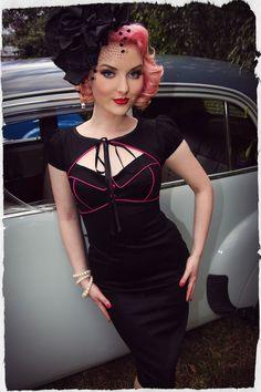 Kiss Me Darling Peekaboo Wiggle Dress (Black)