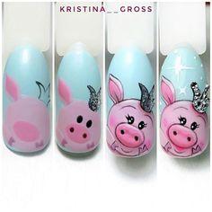 Gepostet von Like mk? Pig Nail Art, Pig Nails, Animal Nail Art, New Year's Nails, Cute Nail Art, Cute Nails, Animal Nail Designs, Nail Art Designs, Chrismas Nail Art
