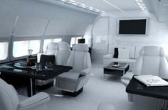 Black and white interior, Private jet by Versace _ collaboration with TAG Aircraft Interiors _