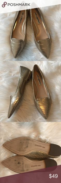 fe1a10b8c53 Karl Lagerfeld Gold Pointy Toe Loafers Gently used gold loafers by Karl  Lagerfeld. They have a pointy toe and are leather.