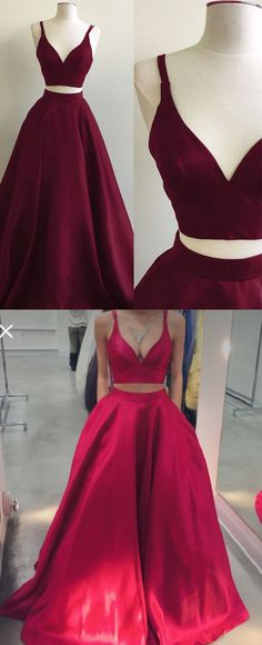 two piece long prom dress homecoming dress, red prom dress, burgundy prom dress evening dress