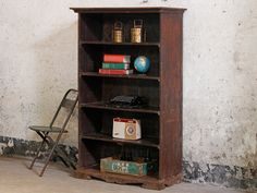 Tall Vintage Shelving Unit Tall Vintage Shelving Unit - what a great piece for your hallway! Bring this delightful old one of a kind bookshelves into your home today. It's charm and character will transform your space. Shop all our orig Vintage Shelving, Vintage Storage, White Floating Shelves, Floating Shelves Kitchen, Hallway Seating, Bookshelves Built In, Bookcase, Ikea Living Room, Green Cushions
