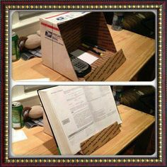 DIY bookstand! also great for studying when having to read and write at the same time