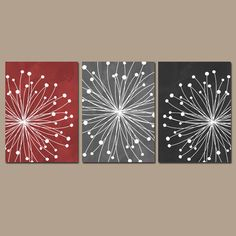 DANDELION Wall Art CANVAS or Prints Red Gray Black by TRMdesign