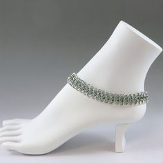 Chainmail Anklet / Ankle Bracelet Seafoam Green with 1 bell by HCJewelrybyRose on Etsy