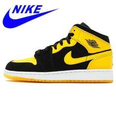 21f0a8fc28a Original Nike Air Jordan 1 Mid AJ1 Black Yellow Joe Men's Basketball Shoes  #sport #