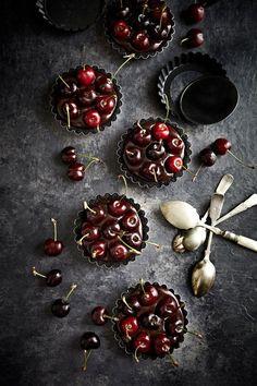 Chocolate Cherry Tarts | #dessert #dark #overhead | Mowie Kay