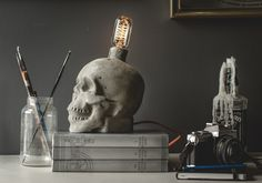 Concrete Skull Lamp by jessefdesign on Etsy, $249.00
