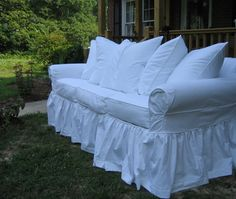 I dread making slipcovers again but this may be the look I want so here we go again.....