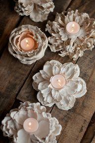 Plaster Dipped Flower Votives - http://craftideas.bitchinrants.com/plaster-dipped-flower-votives/
