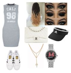 """Untitled #15"" by keakeabad ❤ liked on Polyvore featuring New Look, adidas Originals, adidas, Chanel and Disney"