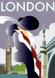 ♥Art Decó ~ London poster. http://zsazsabellagio.blogspot.com/search/label/fancy