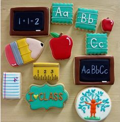 """Aubrey on Instagram: """"Full set of school-themed cookies made especially for @classacademics located in Huntington Beach, CA. The talented owner of this tutoring center ordered these to have at her table at the recent WE Event at @theocmix. The company's logo is on the bottom right. Thanks again, Colleen!! Chubby pencil design by @sweetsugarbelle """""""