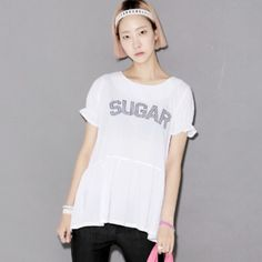 """Today's Hot Pick :SUGAR Flared T-Shirt http://fashionstylep.com/P0000ZDK/ju021026/out Sweeter than sugar, this tee packs all the saccharine sweetness! It has a crewneck, short puffed sleeves, front """"SUGAR""""print, flare, and back zipper that will make your sweet tooth crave. Wear this top with pastel shorts and ballet flats."""