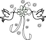 wedding doves with ribbons clip art