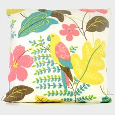 Tropical Decorative Pillow Cover with Parrot, 18x18, 20x20, 22x22 - Accent Pillow, Tropical Pillow, Throw Pillow. $45.00, via Etsy.