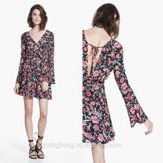New Arrival Digital Print Flowers See Through Thai Silk Evening Dress