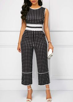 Dot Print Sleeveless Side Pocket Jumpsuit Women Clothes For Cheap, Collections, Styles Perfectly Fit You, Never Miss It! Printed Jumpsuit, Black Jumpsuit, Pant Jumpsuit, Ropa On Line, Jumpsuits For Women, Clothes For Women, High Waist, Buy Cheap, Women's Fashion