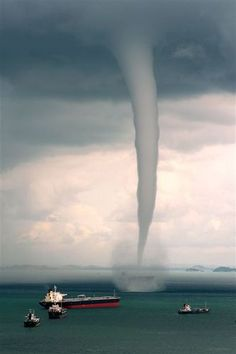 Waterspouts are more frequent, but are still an unusual weather phenomena. A water spout is a funnel shaped cloud formed over a body of water. Weather Storm, Wild Weather, Tornados, Natural Phenomena, Natural Disasters, Cool Pictures, Cool Photos, Nature Pictures, Fuerza Natural
