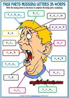 Face Parts Esl Printable Missing Letters in Words Worksheets For Kids