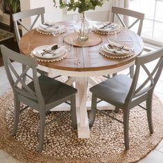 Round Farmhouse Table, White Dining Table, Dinning Room Tables, Table And Chairs, Round Wood Dining Table, Round Kitchen Tables, Wood Tables, Round Extendable Dining Table, Painted Kitchen Tables
