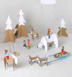 Téli világ játékszett kartonpapírból (nyomtatható mintaívvel) / Mindy -  kreatív ötletek és dekorációk minden napra