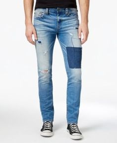 True Religion Men's Geno Slim-Fit Stretch Destroyed Jeans  - Blue 33