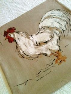 Vintage Farmhouse Chic Cafe au Lait Linen Rooster Pillow, Cottage Home, Olives and Doves