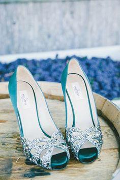blue peeptoe bridal shoes glitter bows brides of adelaide magazine