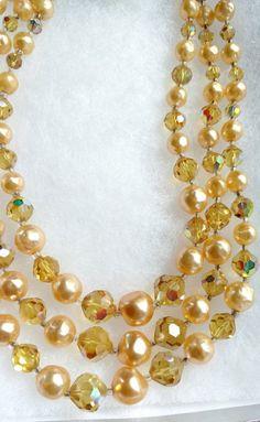 Vintage Laguna Three Strand Pearl and Crystal Necklace Multi Strand Pearl Necklace, Gemstone Necklace, Crystal Necklace, Beaded Bracelets, Necklaces, Pearls, Gemstones, Classic, Accessories