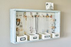 DIY Hanging Jewelry Storage Display by A Time For Everything Hanging Jewelry Organizer, Jewelry Organization, Home Organization, Organizing Ideas, Bracelet Organizer, Diy Jewelry Holder Frame, Homemade Jewelry Organizer, Diy Hair Accessories Organizer, Antler Jewelry Holder